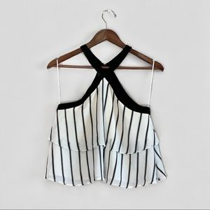 GIANNI BINI STRIPED BLCK & WHITE BLOUSE